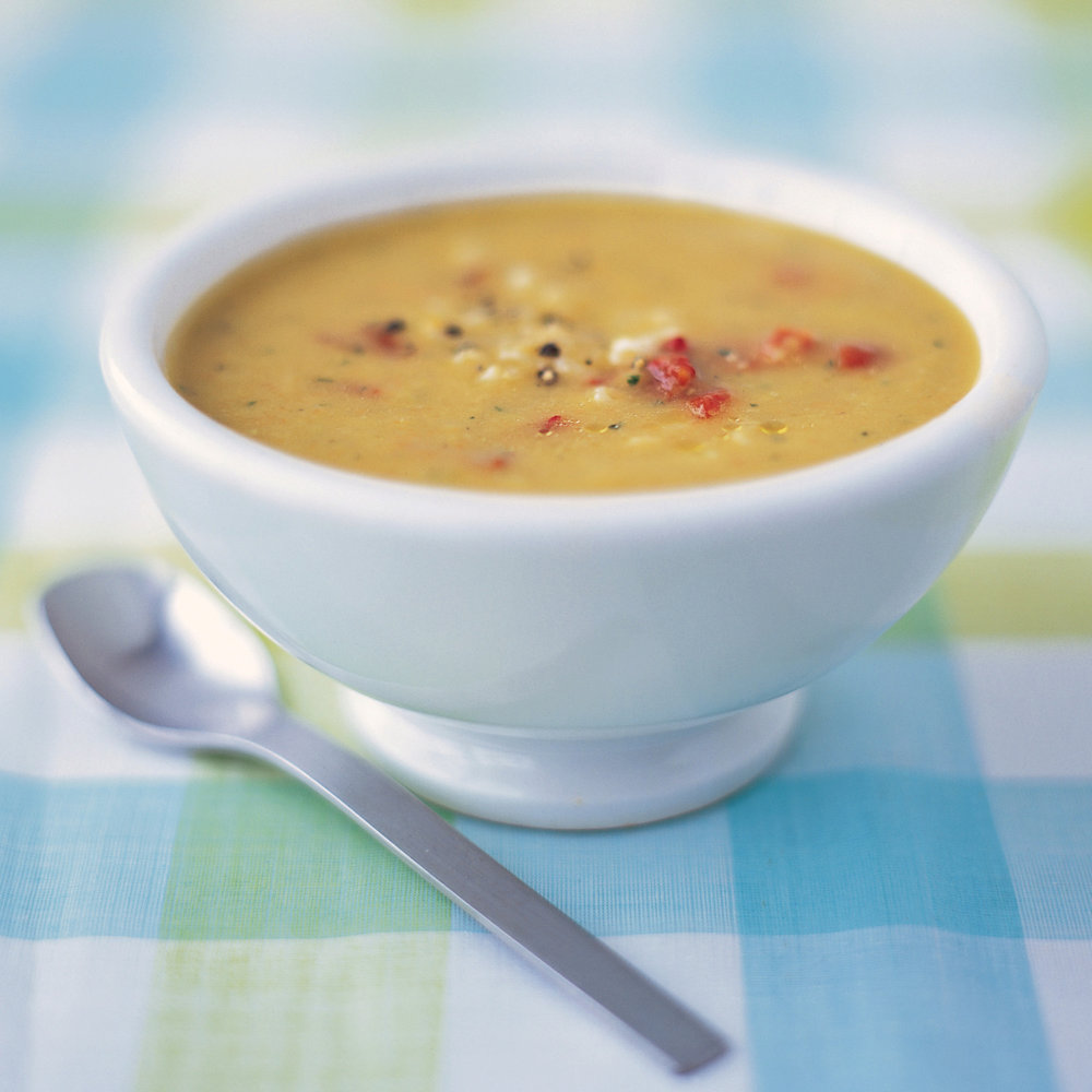 Creamy Lima-Bean Soup with Pasta and Peppers
