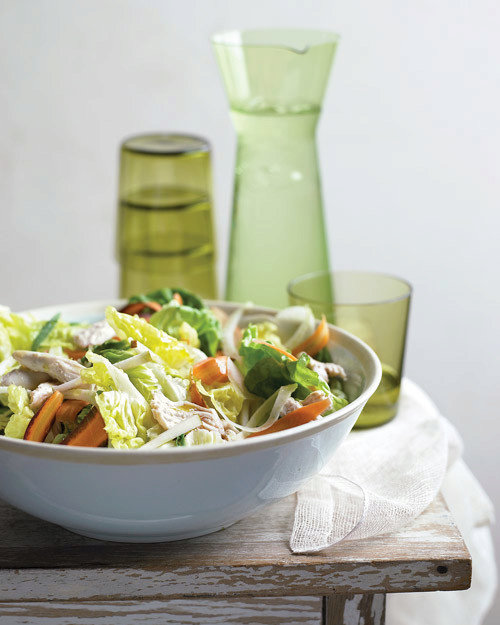 Poached-Chicken Salad with Thinly Sliced Vegetables