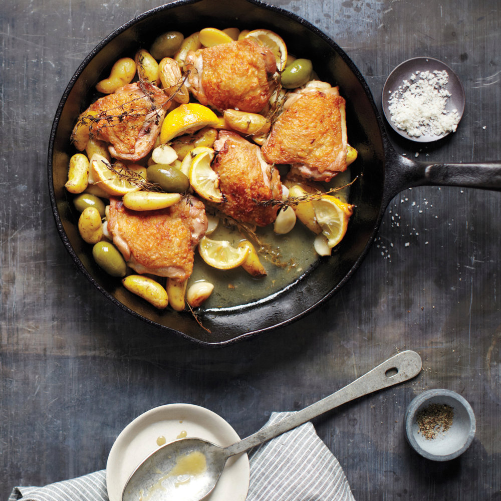 Braised Chicken with Potatoes, Olives, and Lemon