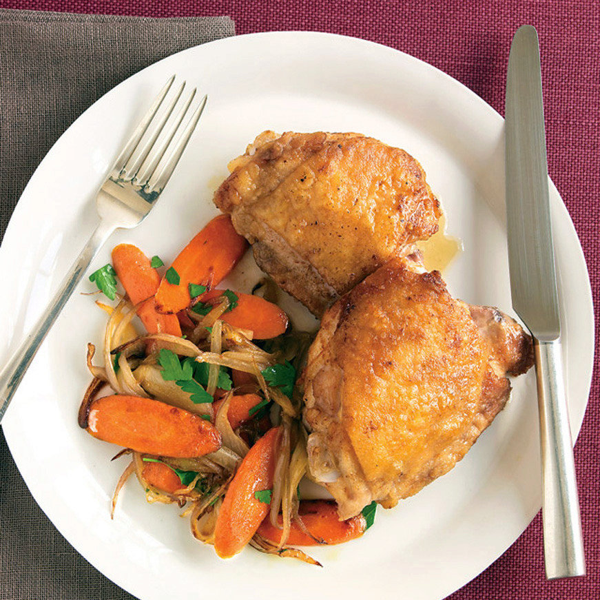 Pan-Seared Chicken with Shallot and Carrots