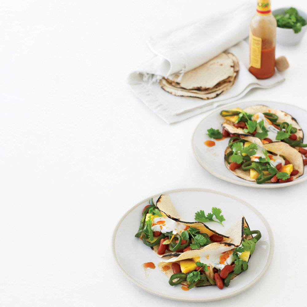 Pepper, Pineapple, and Bean Breakfast Tacos