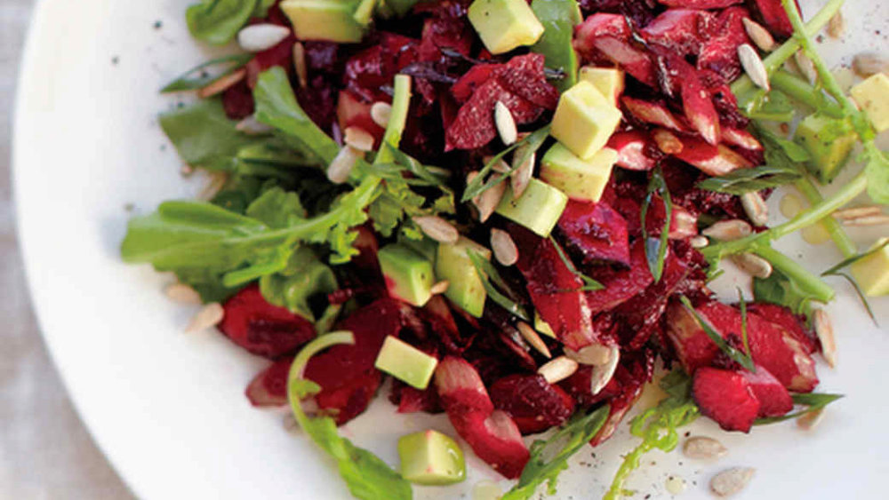 Beet, Avocado, and Arugula Salad with Sunflower Seeds