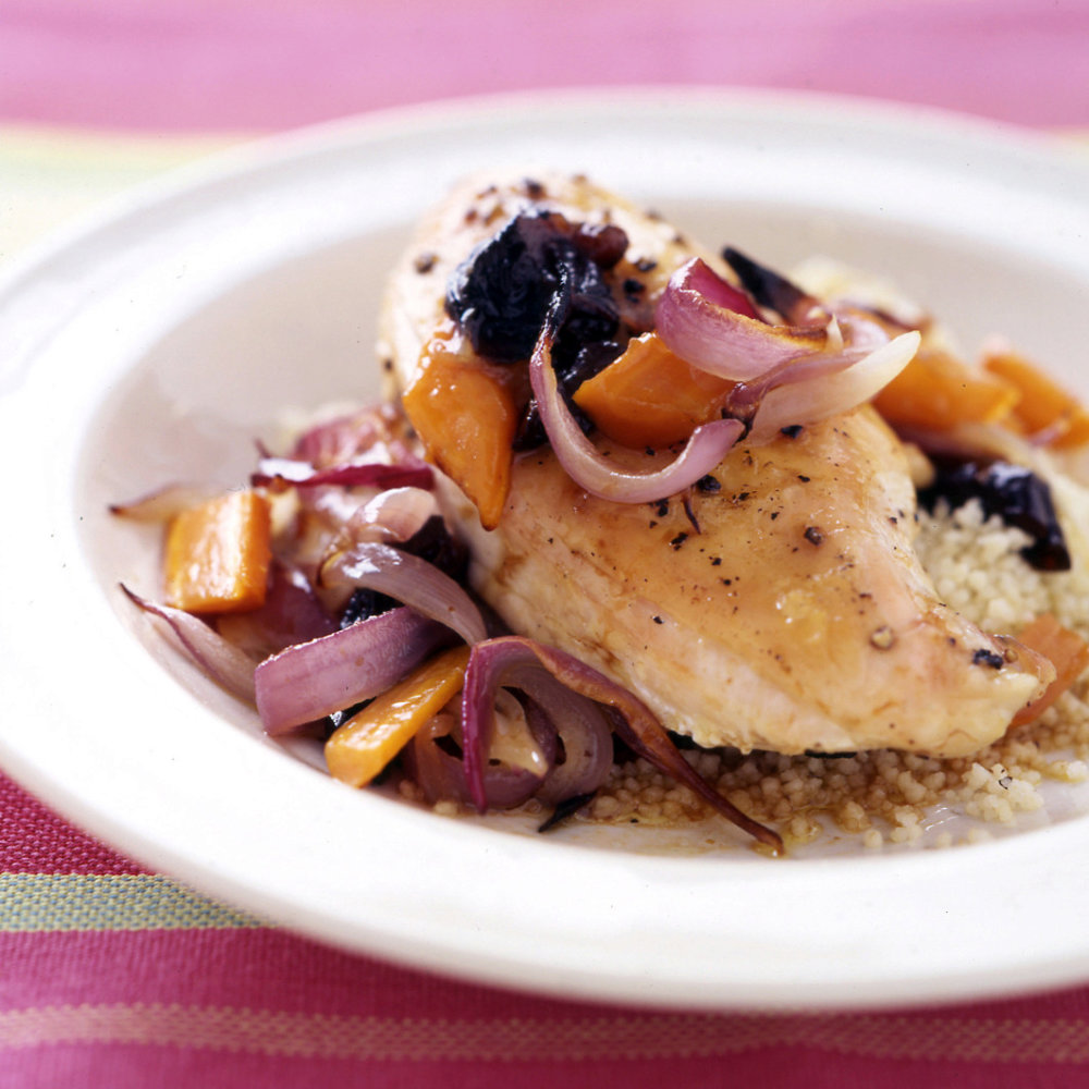Roasted Chicken Breasts with Carrots and Onions