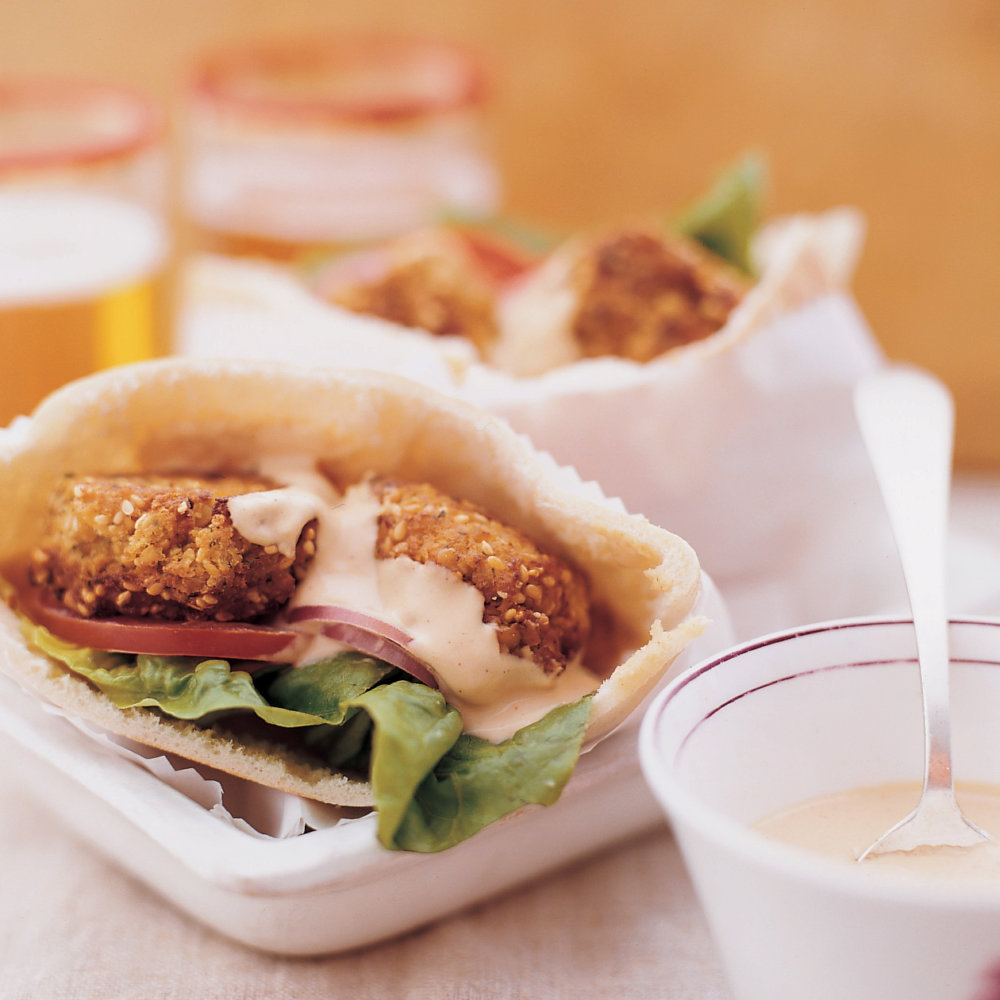 Falafel Sandwich with Spicy Tahini Sauce