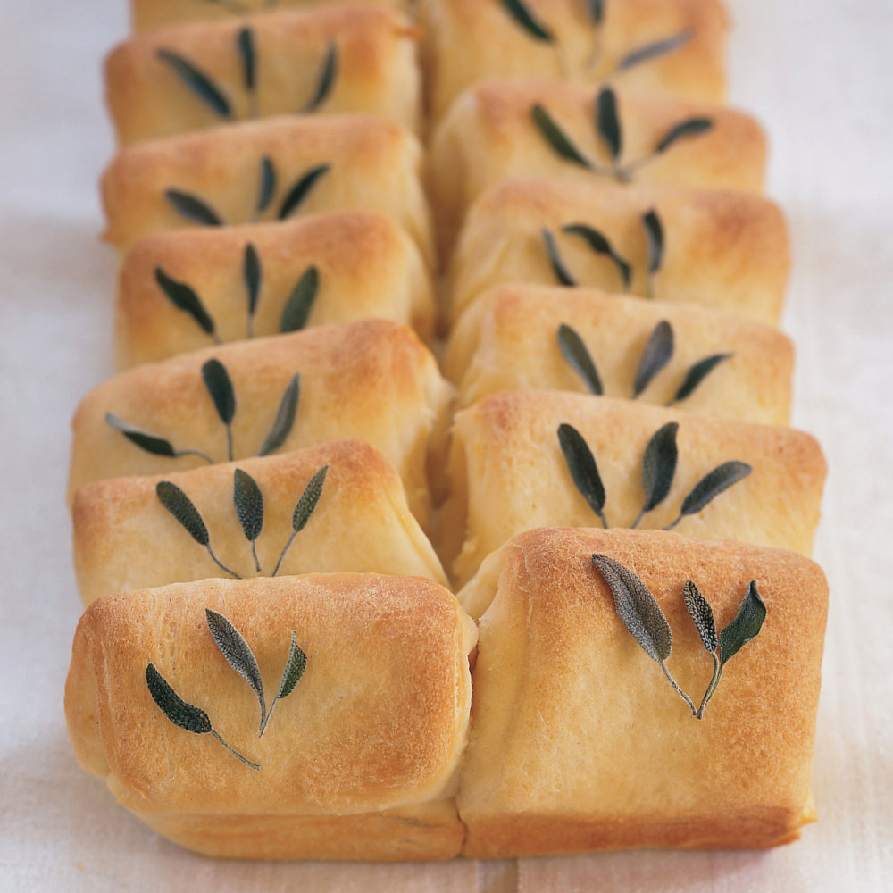 Roasted Garlic and Sage Parker House Rolls