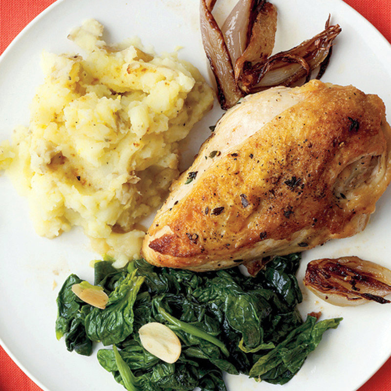 Pan-Roasted Chicken with Spinach and Smashed Potatoes