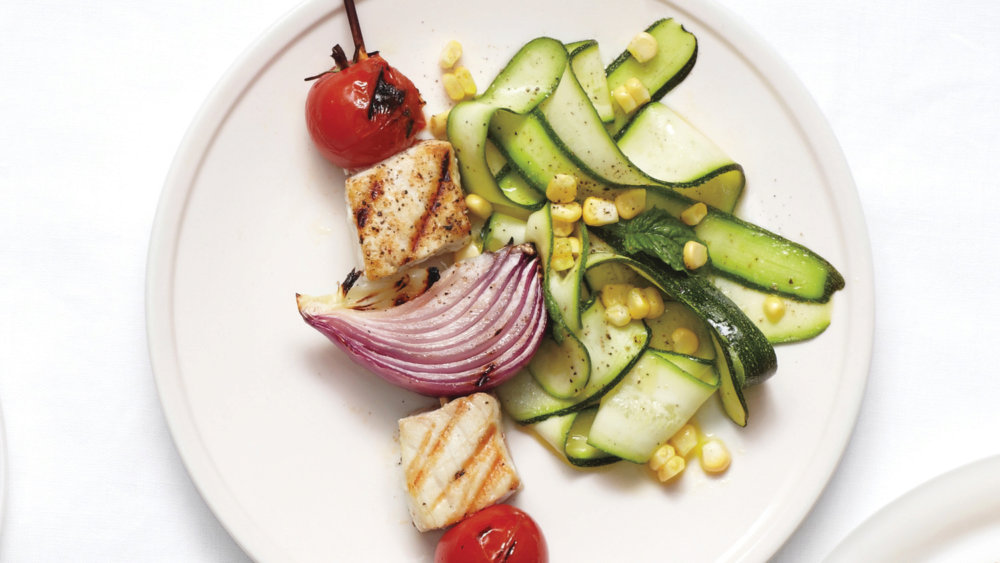 Grilled Fish Kebabs with Shaved Zucchini
