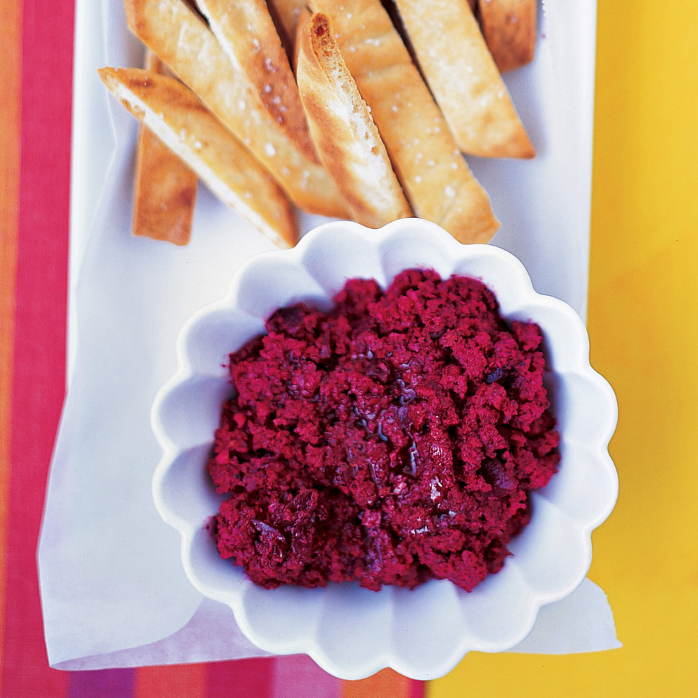 Beet and Almond Dip with Toasted Pita Strips