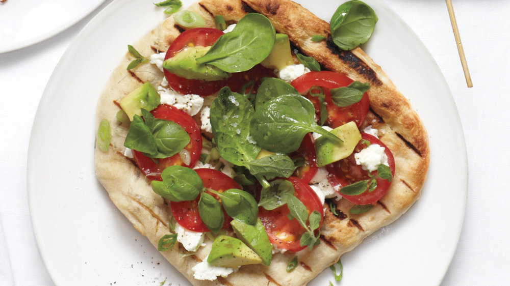 Grilled Pizzas with Tomatoes and Avocado