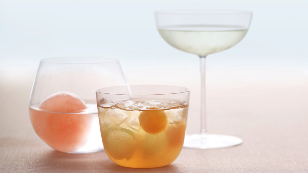 Rum Punch with Melon Balls