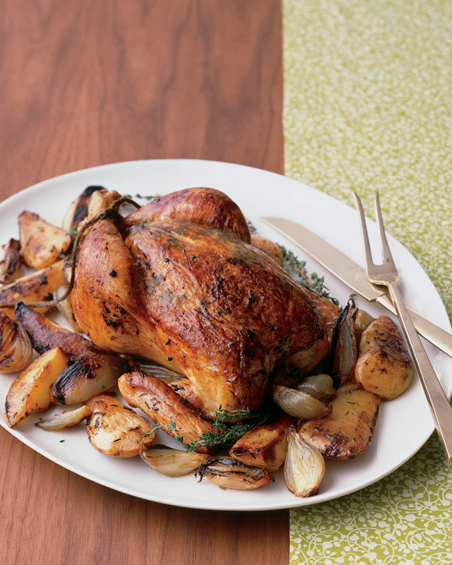 Whole Roasted Chicken with Pear, Shallots, and Thyme