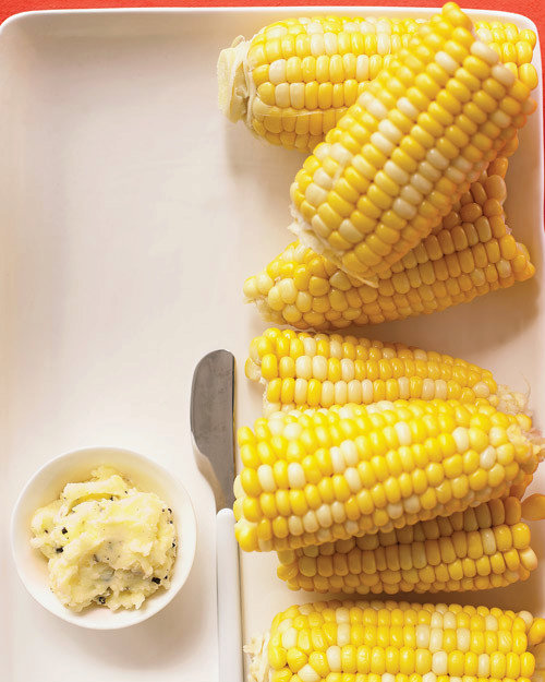 Corn Cobs With Cheddar Butter
