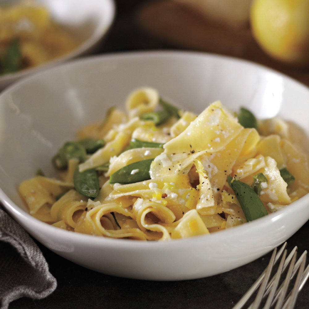 Pappardelle with Leeks, Sugar Snap Peas, and Lemon
