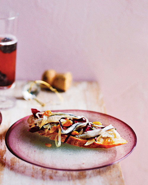 Anchovy Crostini with Onion-and-Raisin Relish