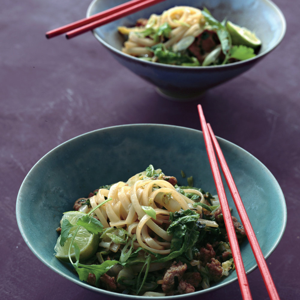 Chinese Cabbage Stir-Fry with Rice Noodles, Pork, and Cilantro