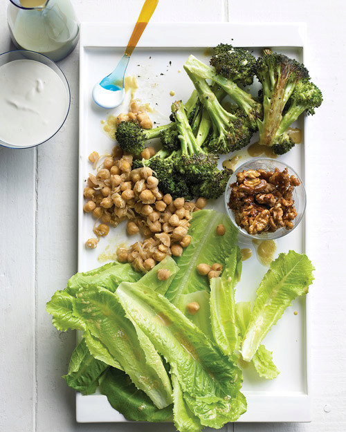 Composed Salad of Roasted Broccoli, Romaine, Chickpeas, and Walnuts