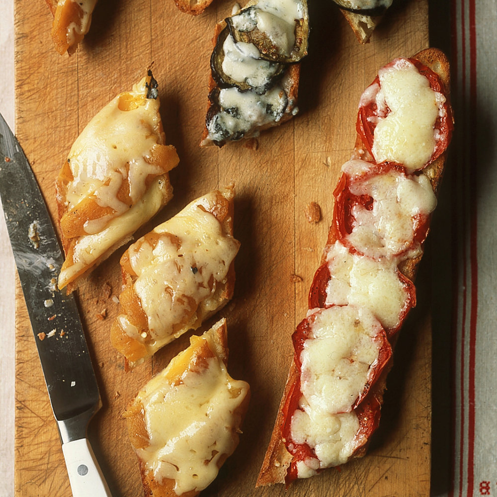 Open-Faced Eggplant and Gorgonzola Grilled Cheese