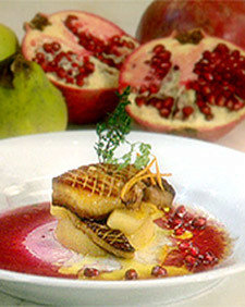 Seared Foie Gras with Poached Quince, Tangerine, and Pomegranate Juice