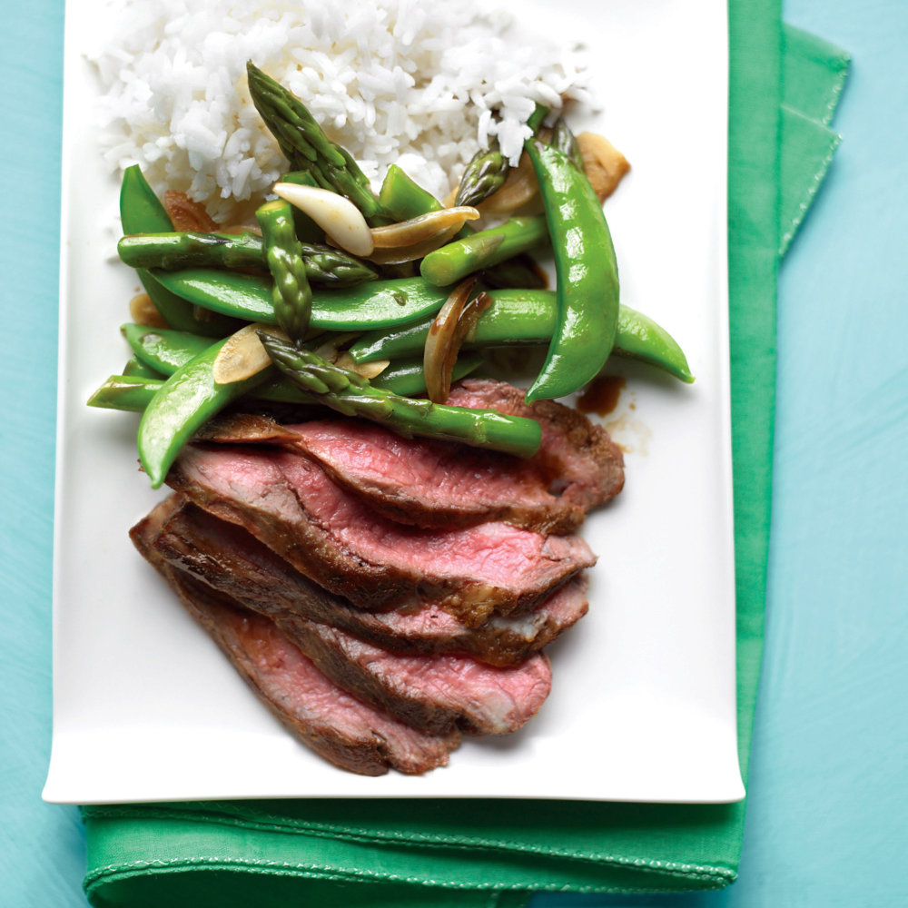 Flank Steak with Snap-Pea and Asparagus Stir-Fry