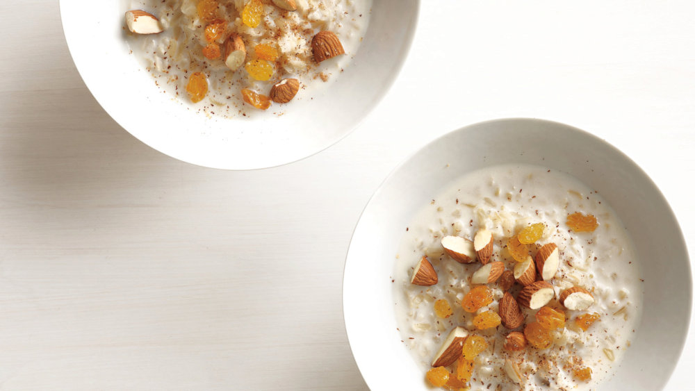 Hot Rice Cereal with Nuts and Raisins