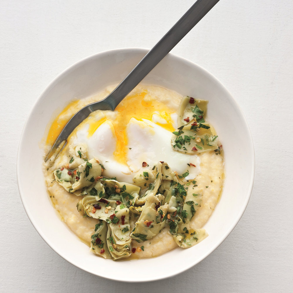 Poached Eggs, Polenta, and Marinated Artichokes