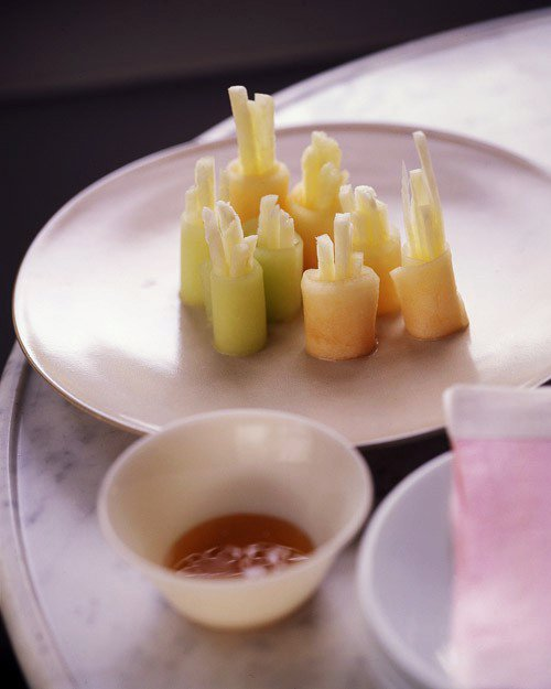 Cold Fruit Sushi with Honey Dipping Sauce