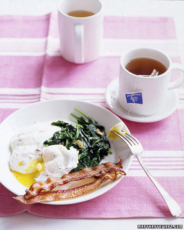 Poached Eggs with Bacon Grits and Wilted Spinach