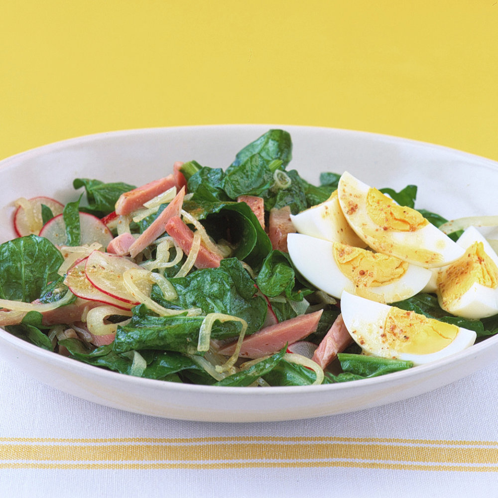 Spinach Salad with Ham and Egg