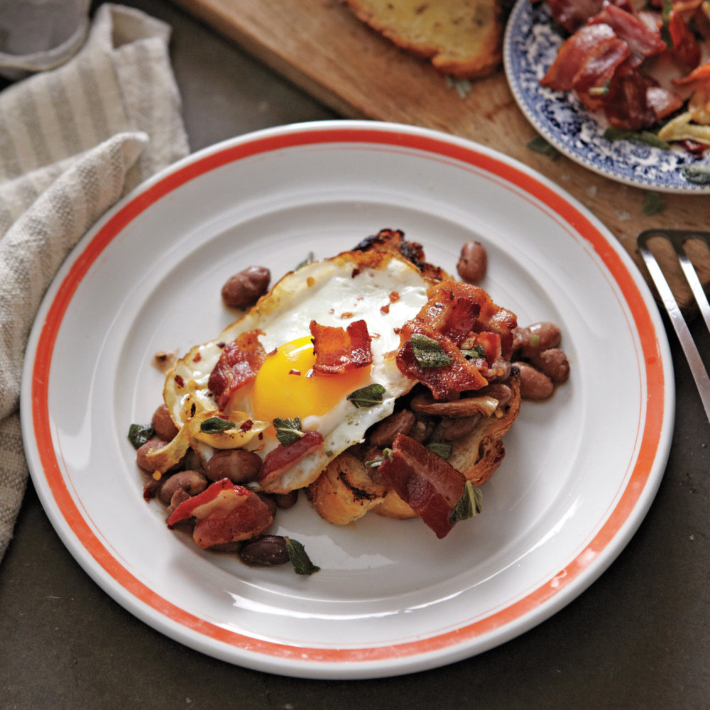 Beans on Toast with Crisp Bacon and Eggs