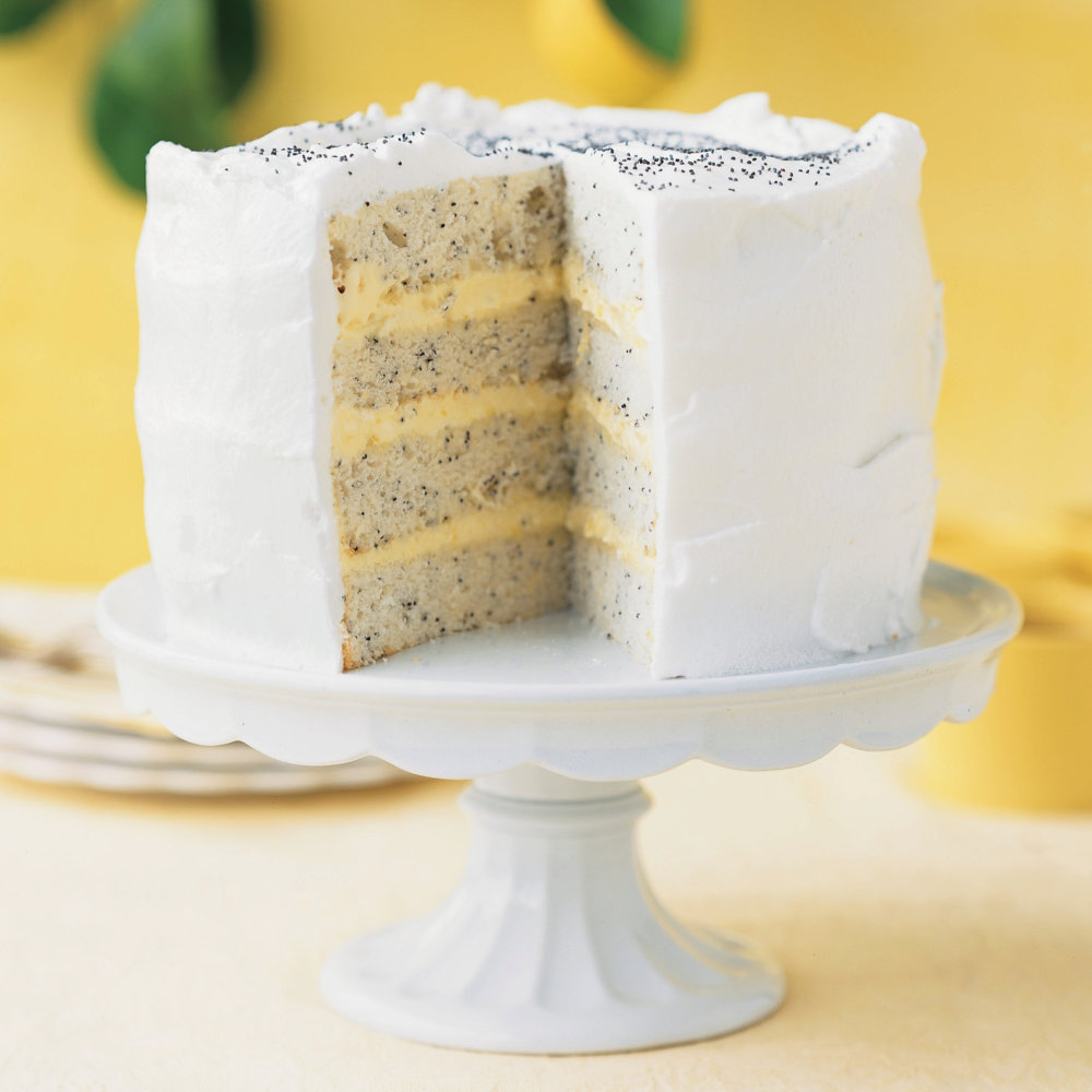 Seven-Minute Frosting for Lemon Poppy-Seed Lady Cake