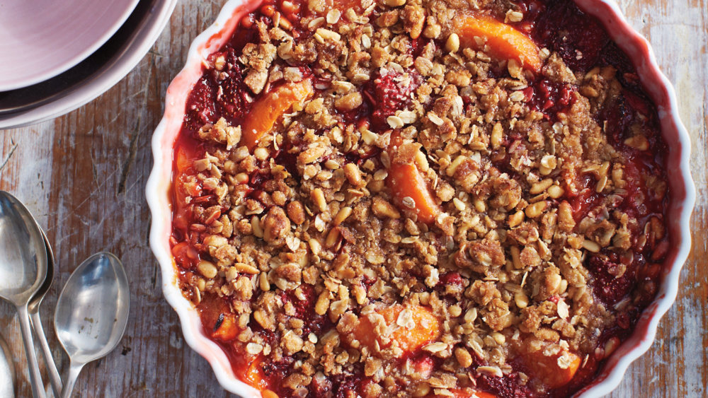 Strawberry and Apricot Crisp with Pine-Nut Crumble