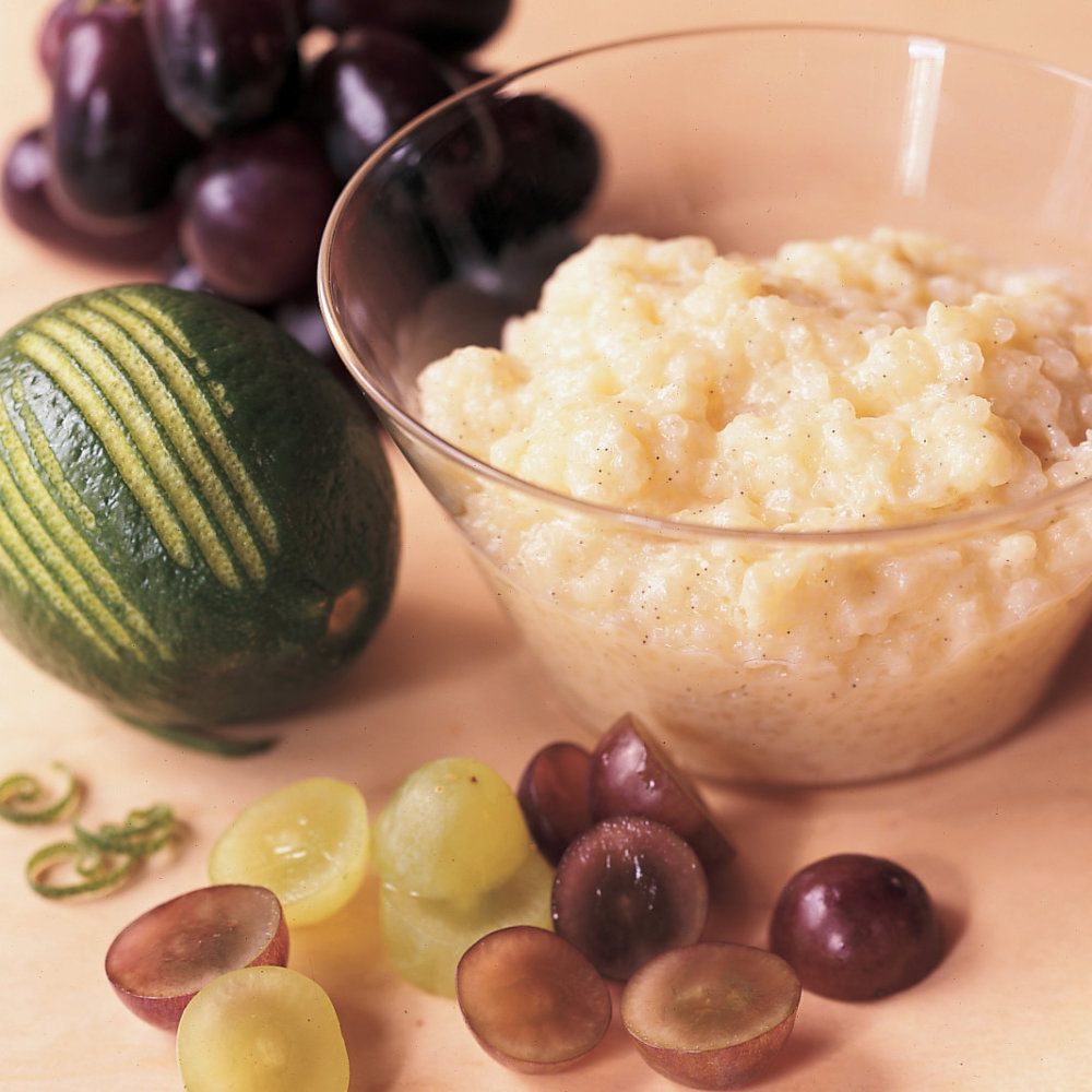 Coconut Tapioca Pudding with Sliced Grapes
