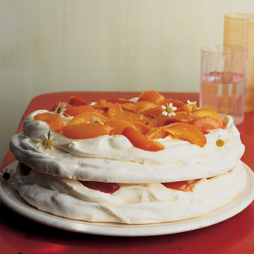 Vacherin with Chamomile-Poached Nectarines