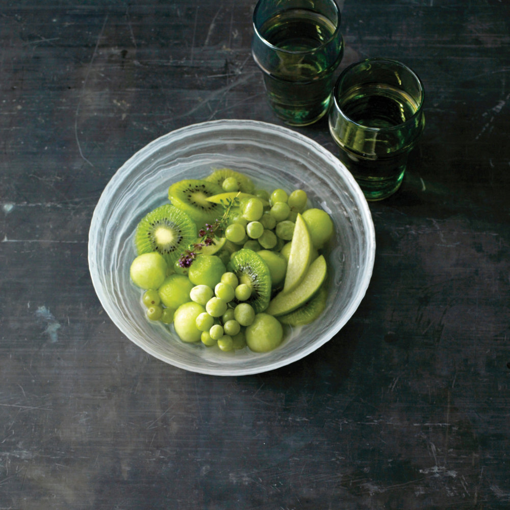 Green Fruit Bowl with Frozen Grapes