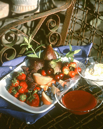 Fresh Fruit with Ricotta and Plum Sauce