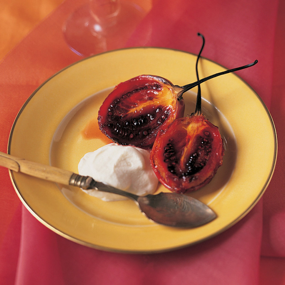 Tamarillo Brulee with Whipped Creme Fraiche