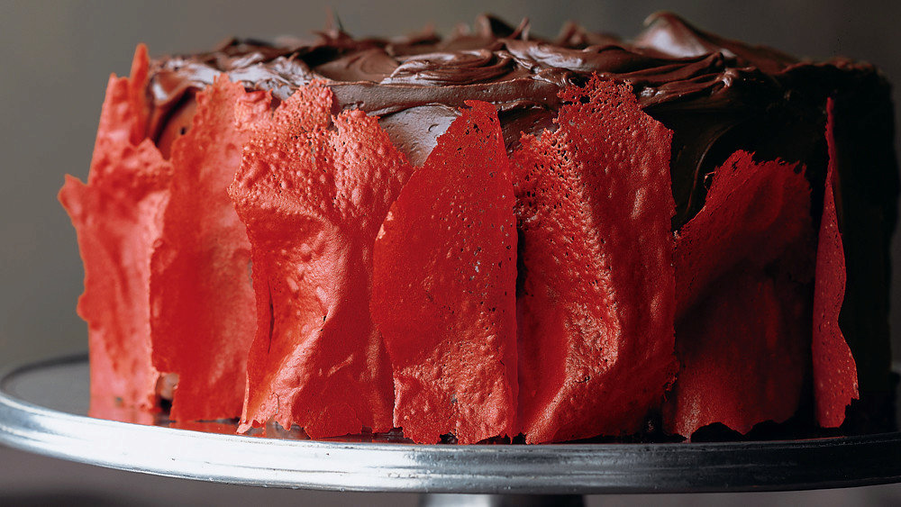 Devil's Food Cake with Flame Tuiles