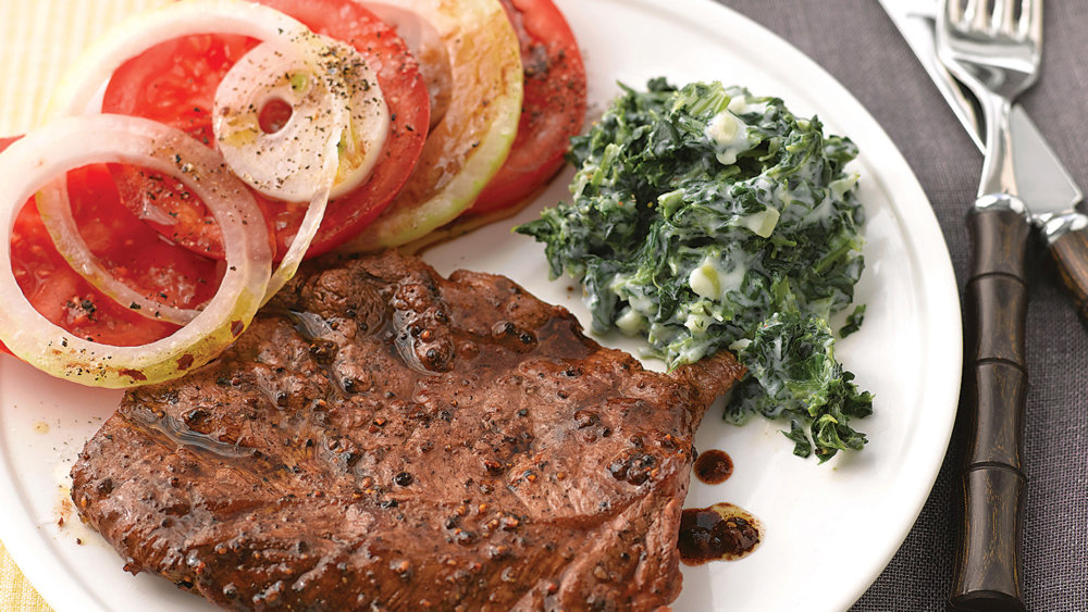 Seared Steaks with Tomato Salad and Creamy Spinach