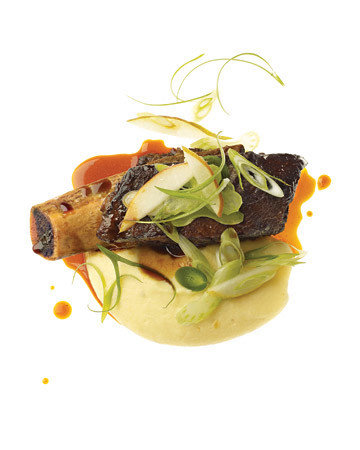 Lacquered Short Ribs with Celery-Root Puree and Celery-Pear Salad