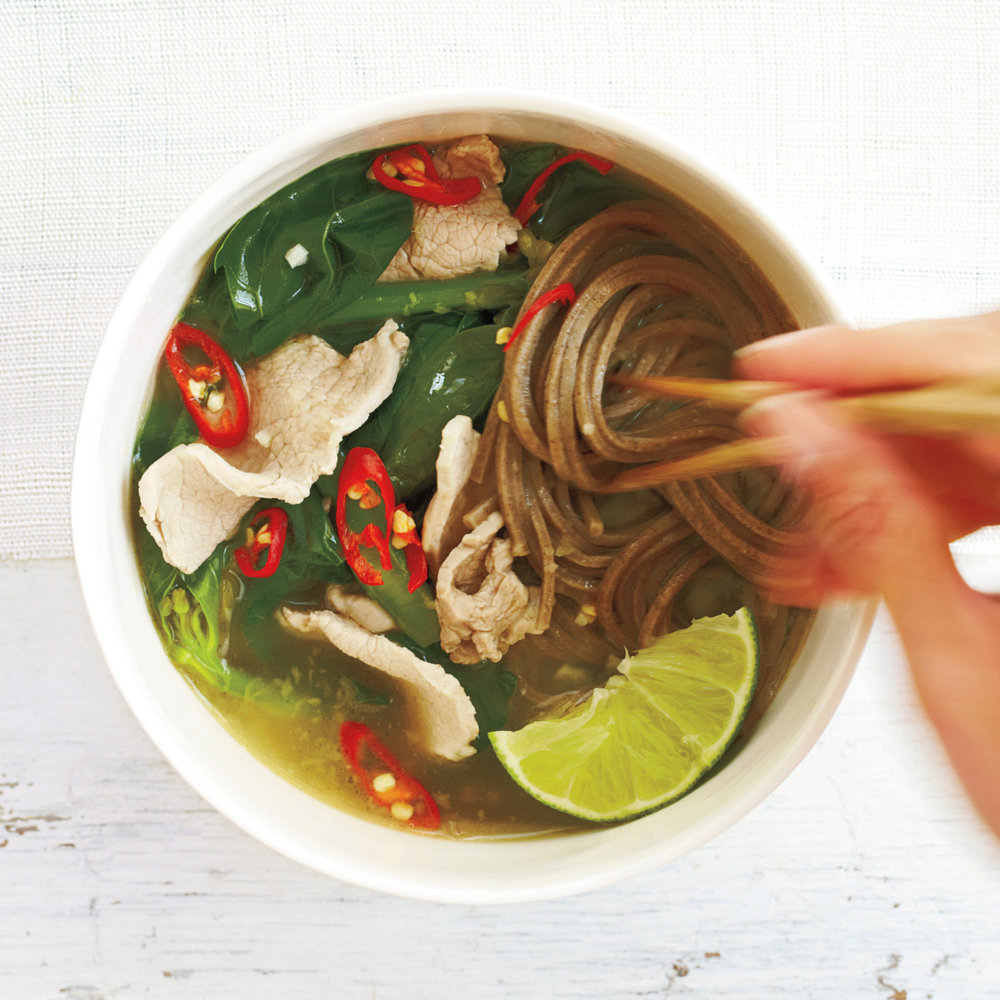 Sliced Pork, Chinese Broccoli, and Soba Noodle Soup