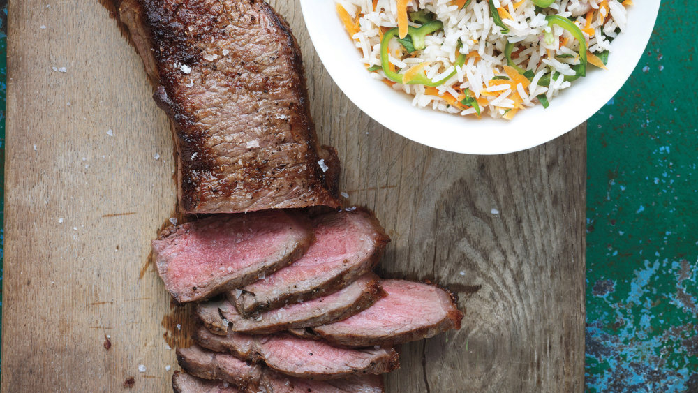 Broiled Steak with Rice Salad