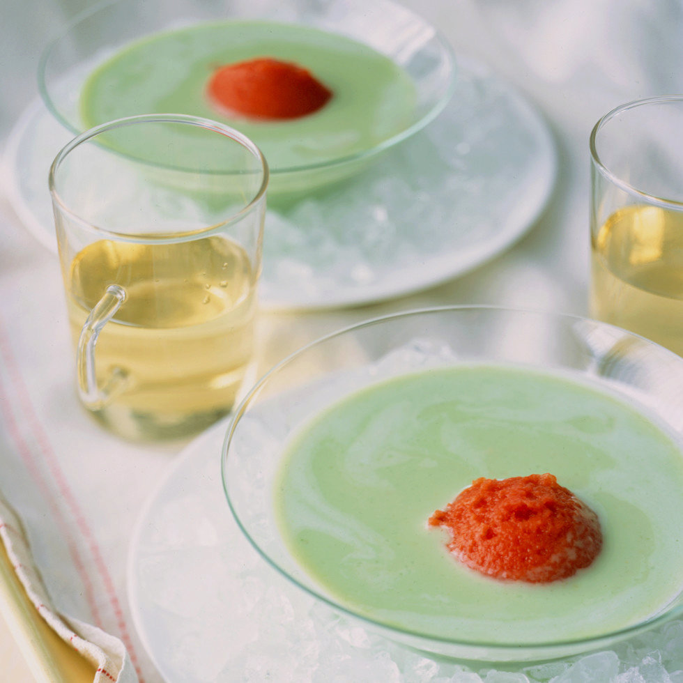 Yogurt-Basil Soup with Tomato Ice