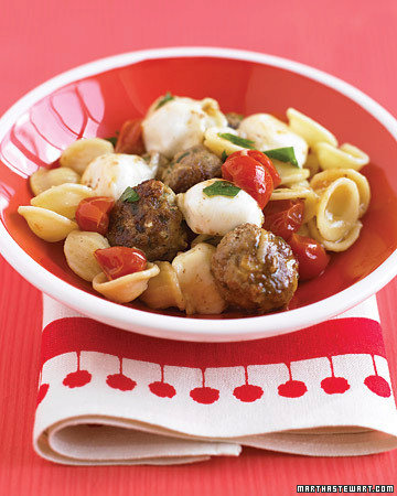 Pasta with Turkey Meatballs and Bocconcini