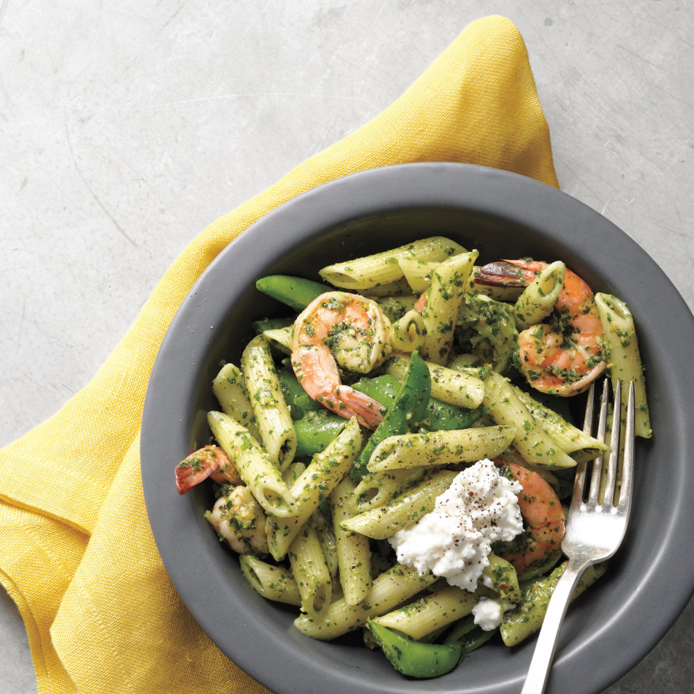 Shrimp and Penne with Spring Herb Pesto