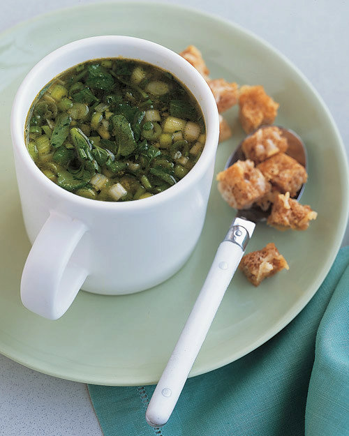 Green Onion And Watercress Soup With Cheese Croutons