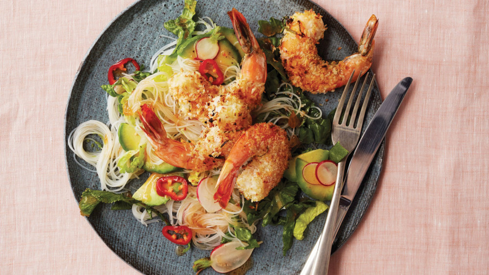Broiled Coconut-and-Lime-Crusted Shrimp With Rice-Noodle Salad