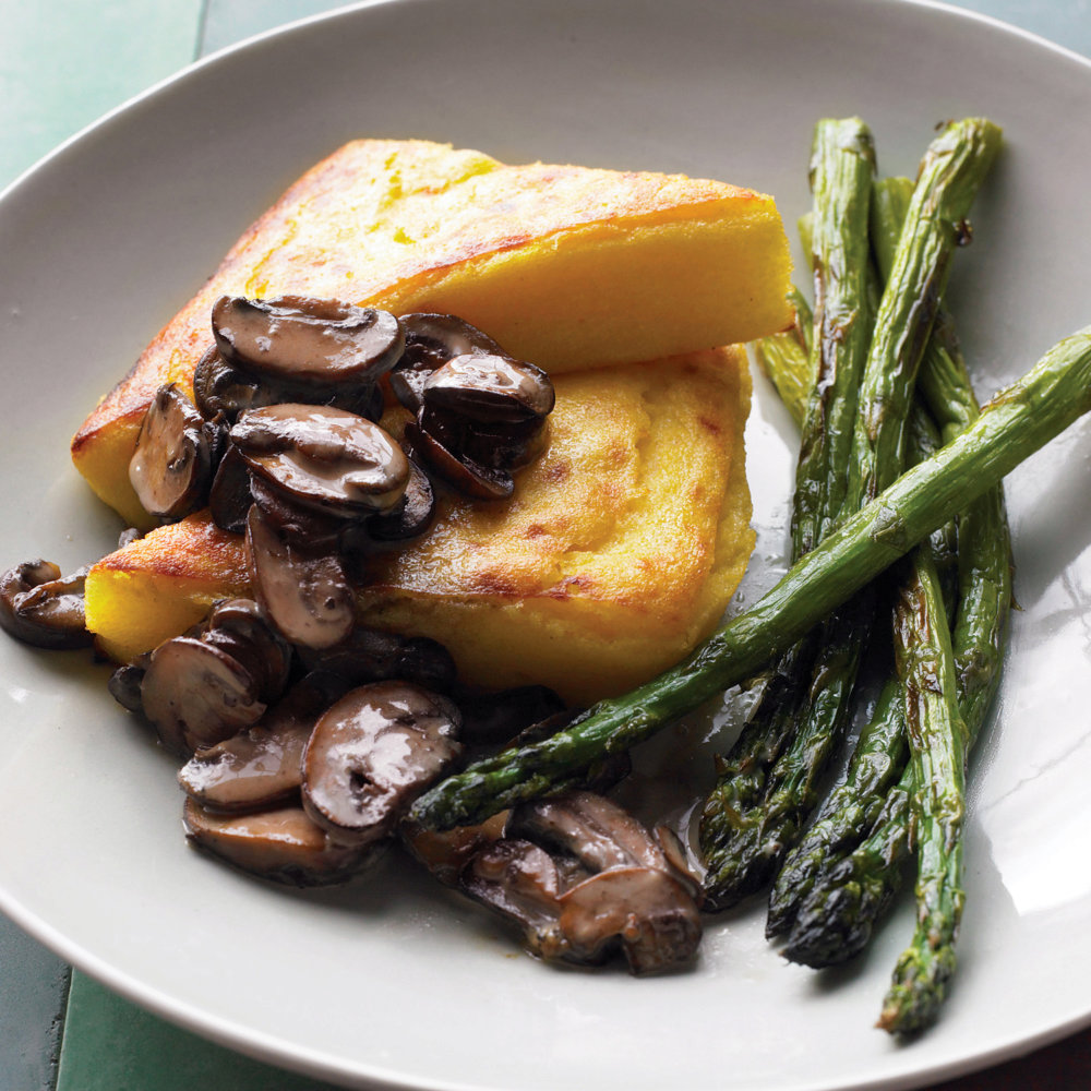 Polenta Wedges with Asparagus and Mushrooms