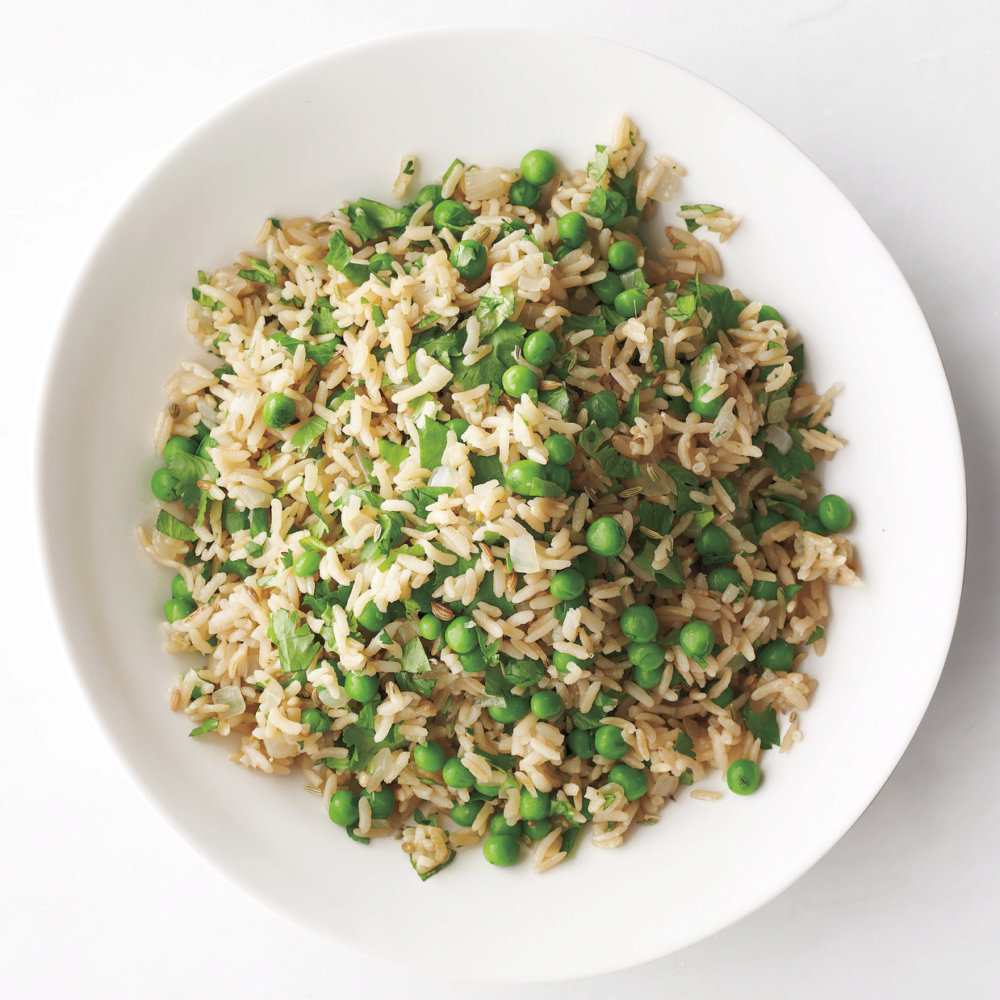 Brown Rice with Peas and Cilantro