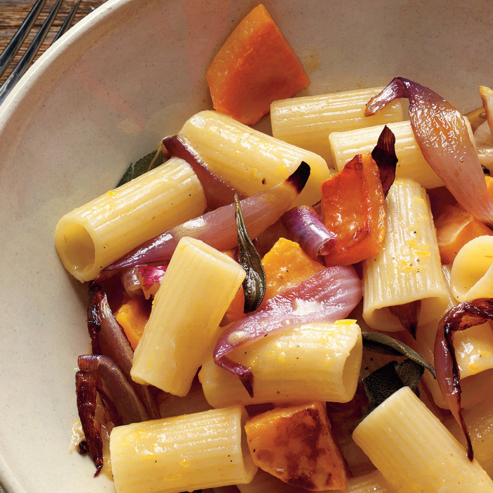 Roasted Red Onion and Squash Pasta