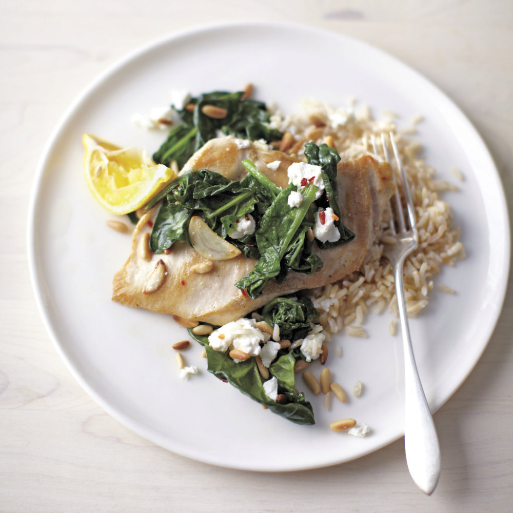 Sauteed Chicken with Spinach, Garlic, and Pine Nuts